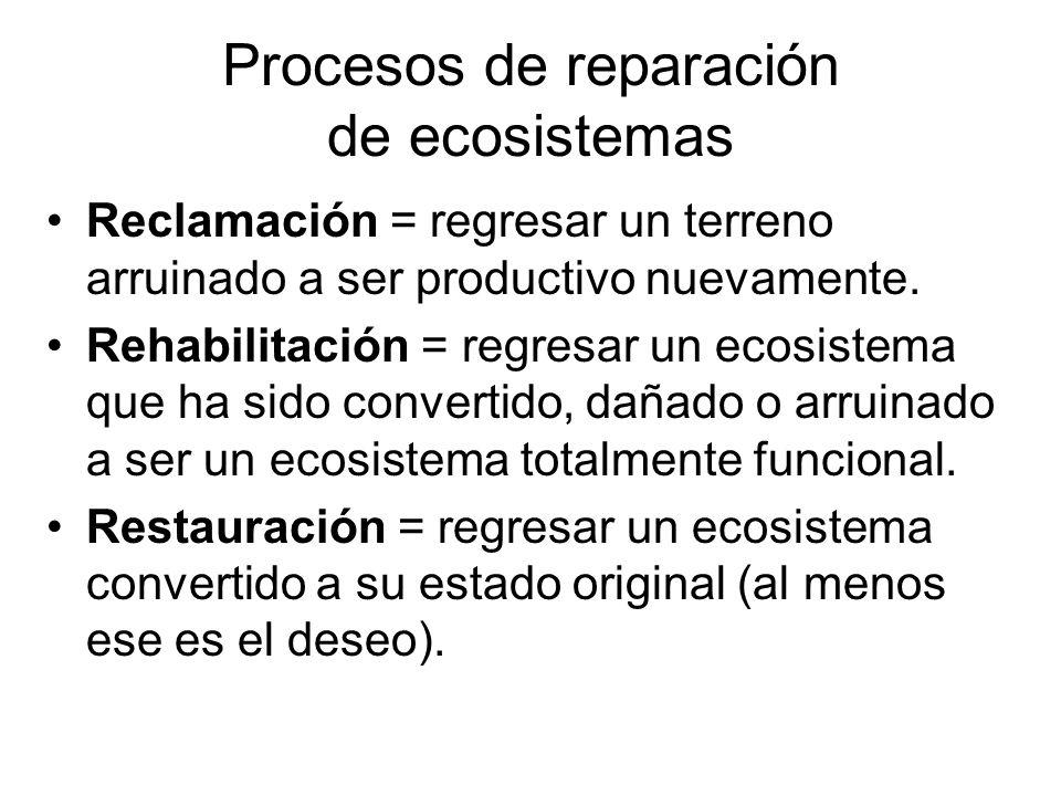 Procesos de reparación de ecosistemas Reclamación = regresar un terreno arruinado a ser productivo nuevamente. Rehabilitación = regresar un ecosistema