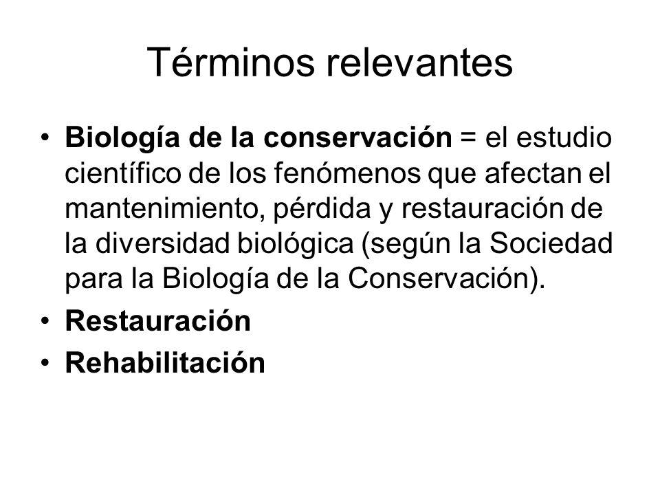 Términos relevantes Biología de la conservación = el estudio científico de los fenómenos que afectan el mantenimiento, pérdida y restauración de la di