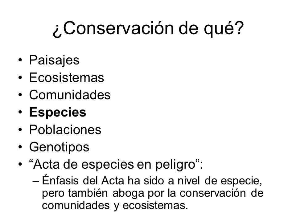 ¿Conservación de qué? Paisajes Ecosistemas Comunidades Especies Poblaciones Genotipos Acta de especies en peligro: –Énfasis del Acta ha sido a nivel d