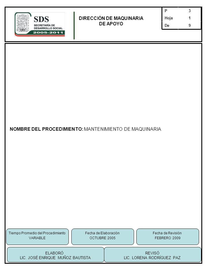 NOMBRE DEL PROCEDIMIENTO: MANTENIMIENTO DE MAQUINARIA 9De 1Hoja 3P DIRECCIÓN DE MAQUINARIA DE APOYO Tiempo Promedio del Procedimiento VARIABLE REVISÓ