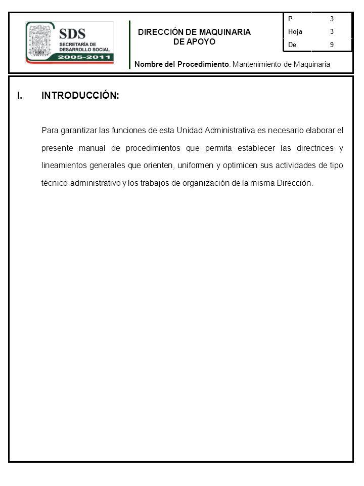 I.INTRODUCCIÓN: Para garantizar las funciones de esta Unidad Administrativa es necesario elaborar el presente manual de procedimientos que permita est