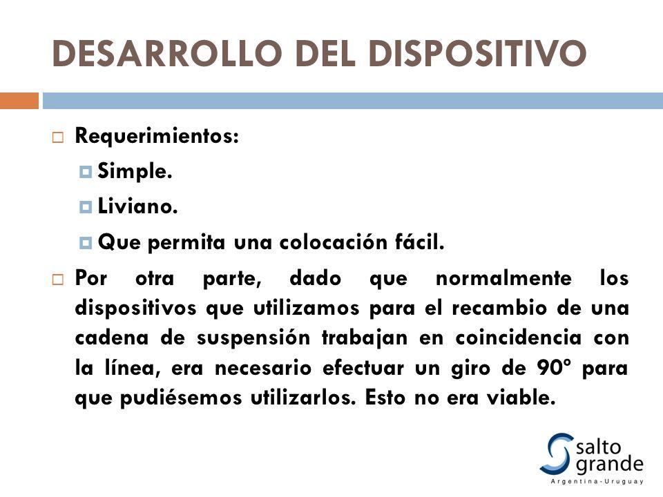 DESARROLLO DEL DISPOSITIVO Requerimientos: Simple. Liviano. Que permita una colocación fácil. Por otra parte, dado que normalmente los dispositivos qu