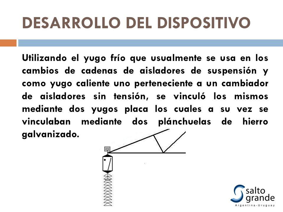 Utilizando el yugo frío que usualmente se usa en los cambios de cadenas de aisladores de suspensión y como yugo caliente uno perteneciente a un cambia