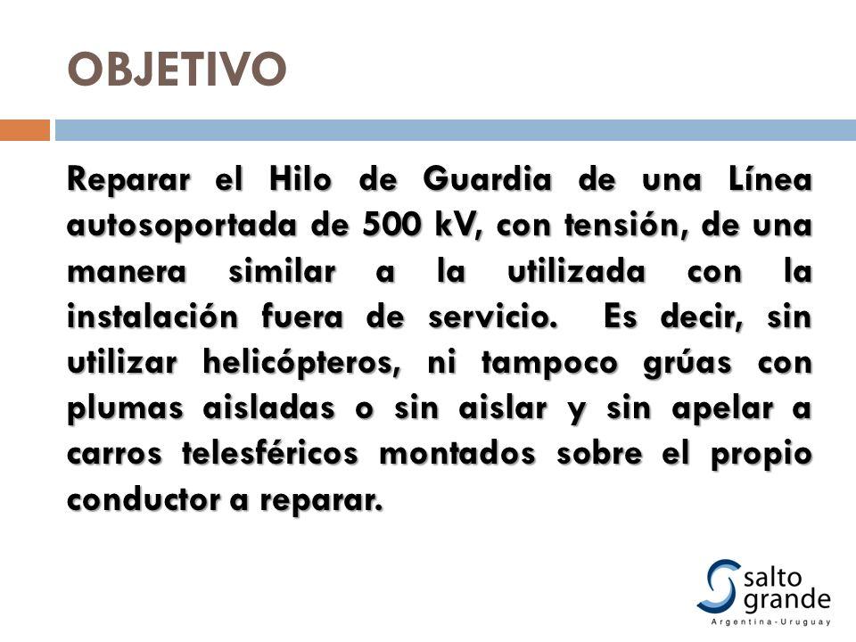 OBJETIVO Reparar el Hilo de Guardia de una Línea autosoportada de 500 kV, con tensión, de una manera similar a la utilizada con la instalación fuera d