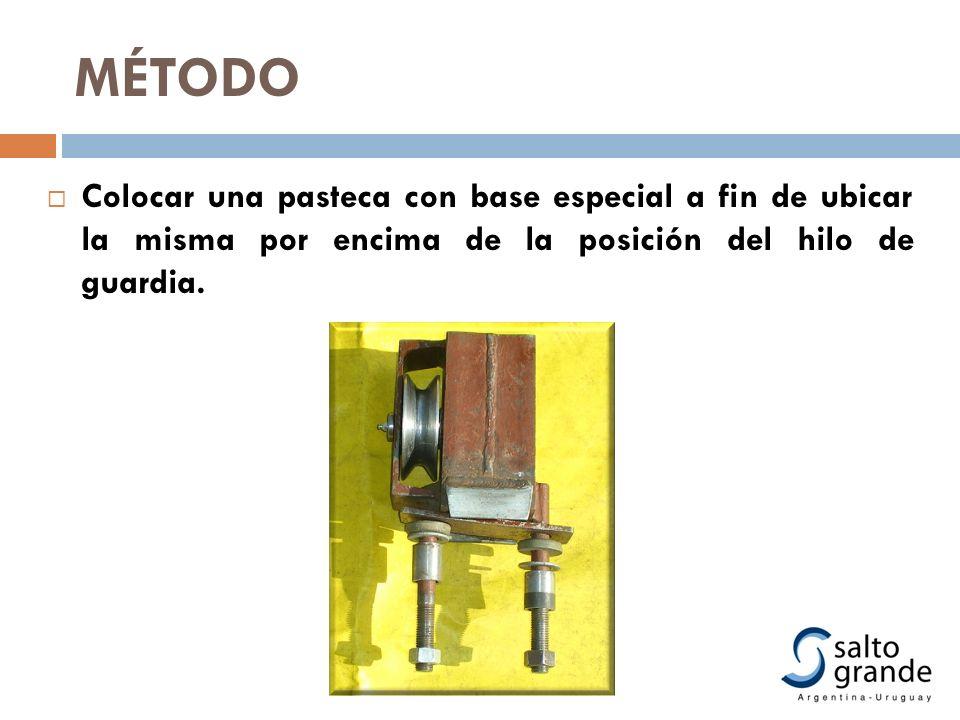 Colocar una pasteca con base especial a fin de ubicar la misma por encima de la posición del hilo de guardia. MÉTODO