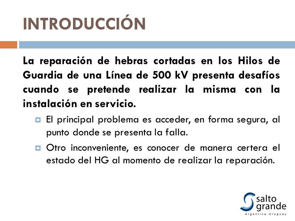 INTRODUCCIÓN La reparación de hebras cortadas en los Hilos de Guardia de una Línea de 500 kV presenta desafíos cuando se pretende realizar la misma co