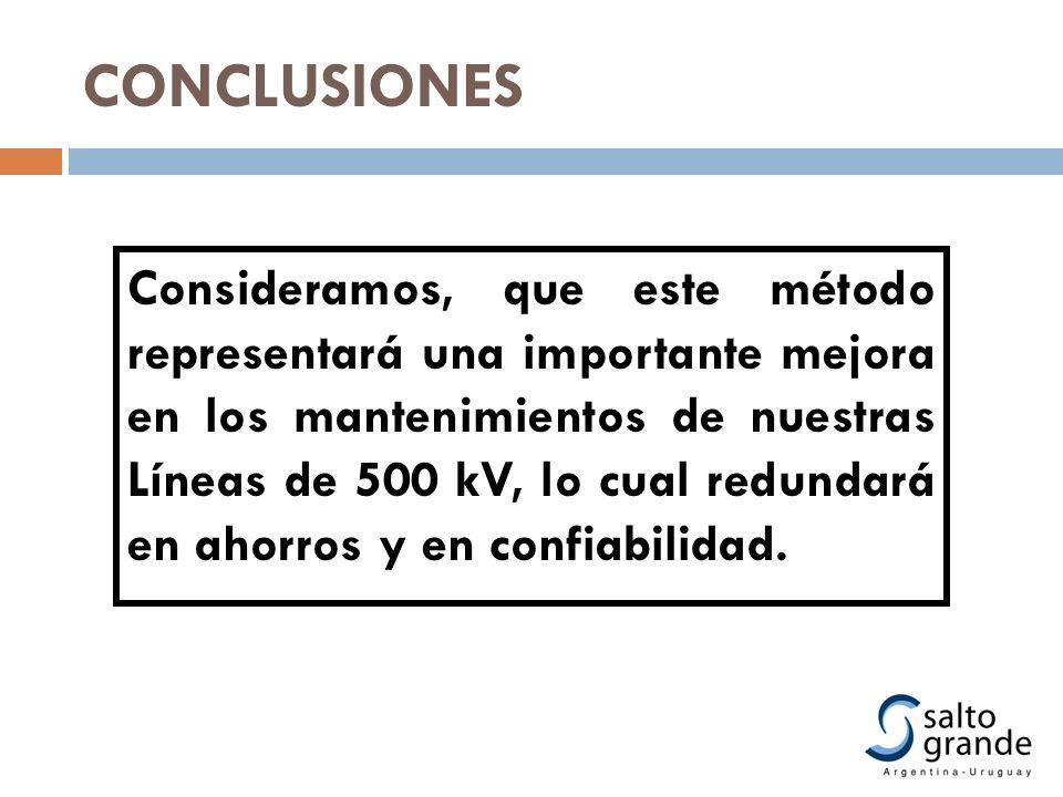CONCLUSIONES Consideramos, que este método representará una importante mejora en los mantenimientos de nuestras Líneas de 500 kV, lo cual redundará en