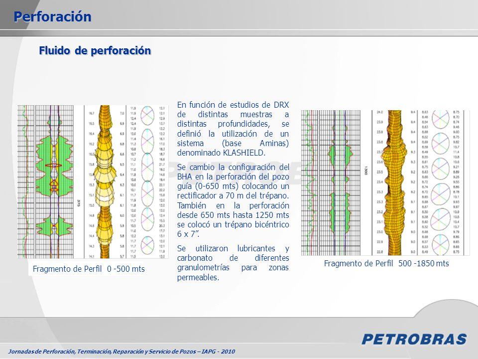 Jornadas de Perforación, Terminación, Reparación y Servicio de Pozos – IAPG - 2010 Fluido de perforación Perforación Fragmento de Perfil 0 -500 mts Fr