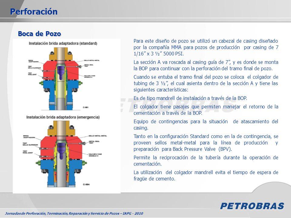 Jornadas de Perforación, Terminación, Reparación y Servicio de Pozos – IAPG - 2010 Perforación Boca de Pozo Para este diseño de pozo se utilizó un cab