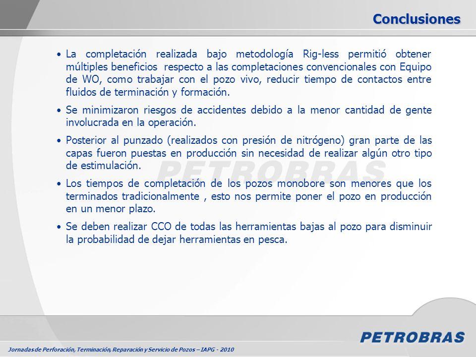 Jornadas de Perforación, Terminación, Reparación y Servicio de Pozos – IAPG - 2010 La completación realizada bajo metodología Rig-less permitió obtene