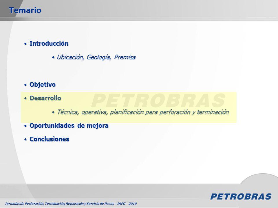 Jornadas de Perforación, Terminación, Reparación y Servicio de Pozos – IAPG - 2010 Consideraciones de DiseñoConsideraciones de Diseño Fluido de perforaciónFluido de perforación TrépanosTrépanos Control de SólidosControl de Sólidos Cementación- Diseño de lechadas - Fluido de desplazamientoCementación- Diseño de lechadas - Fluido de desplazamiento Boca de PozoBoca de Pozo Conjunto de BOPConjunto de BOP Perforación