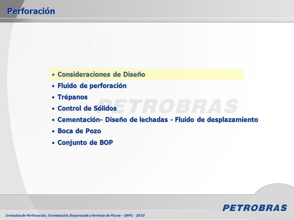 Jornadas de Perforación, Terminación, Reparación y Servicio de Pozos – IAPG - 2010 Consideraciones de DiseñoConsideraciones de Diseño Fluido de perfor
