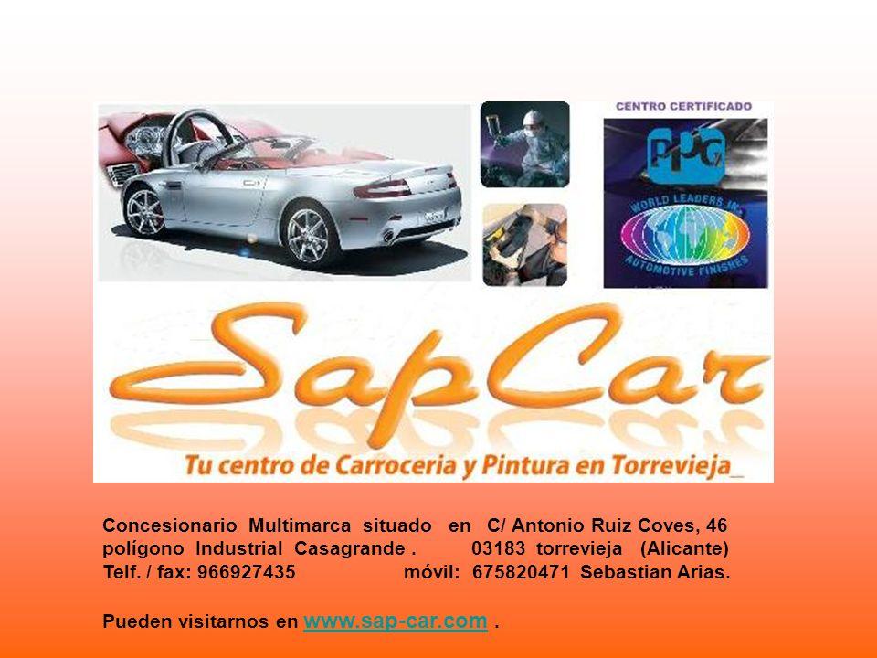 Concesionario Multimarca situado en C/ Antonio Ruiz Coves, 46 polígono Industrial Casagrande. 03183 torrevieja (Alicante) Telf. / fax: 966927435 móvil