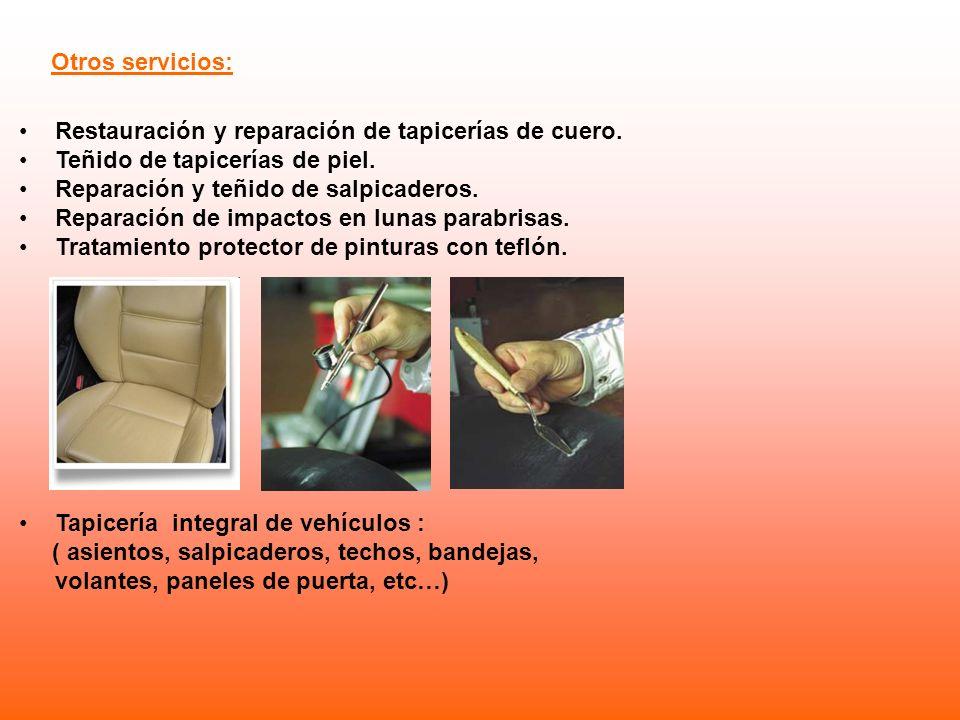 Restauración y reparación de tapicerías de cuero. Teñido de tapicerías de piel. Reparación y teñido de salpicaderos. Reparación de impactos en lunas p
