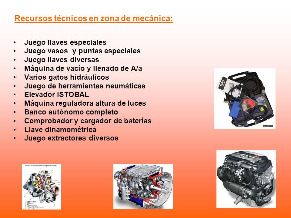 Recursos técnicos en zona de mecánica: Juego llaves especiales Juego vasos y puntas especiales Juego llaves diversas Máquina de vacío y llenado de A/a