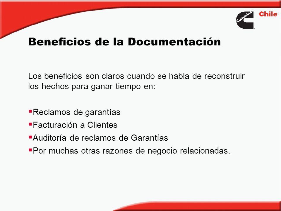 Beneficios de la Documentación Los beneficios son claros cuando se habla de reconstruir los hechos para ganar tiempo en: Reclamos de garantías Factura