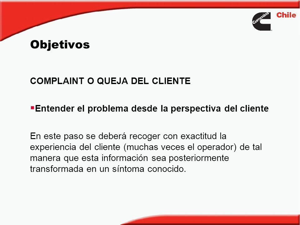 Objetivos COMPLAINT O QUEJA DEL CLIENTE Entender el problema desde la perspectiva del cliente En este paso se deberá recoger con exactitud la experien