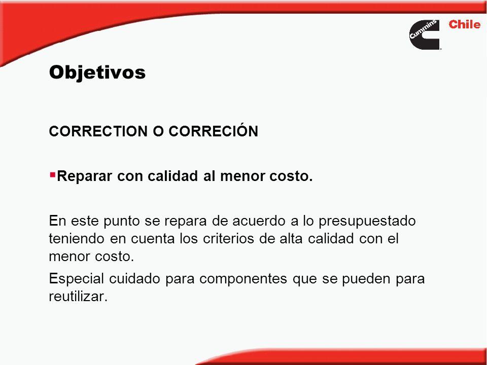 Objetivos CORRECTION O CORRECIÓN Reparar con calidad al menor costo. En este punto se repara de acuerdo a lo presupuestado teniendo en cuenta los crit