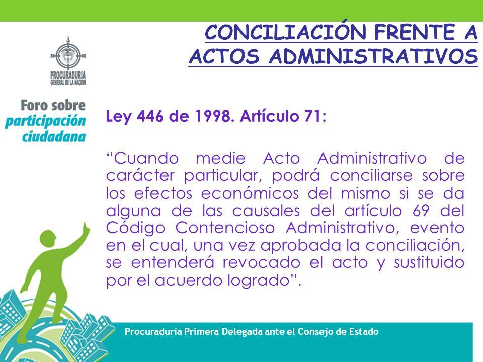 Procuraduría Primera Delegada ante el Consejo de Estado Ley 446 de 1998.