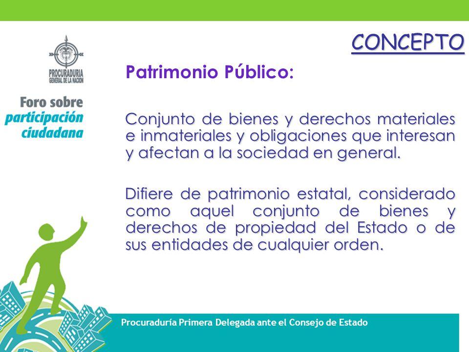 Procuraduría Primera Delegada ante el Consejo de EstadoCONCEPTO Patrimonio Público: Conjunto de bienes y derechos materiales e inmateriales y obligaciones que interesan y afectan a la sociedad en general.