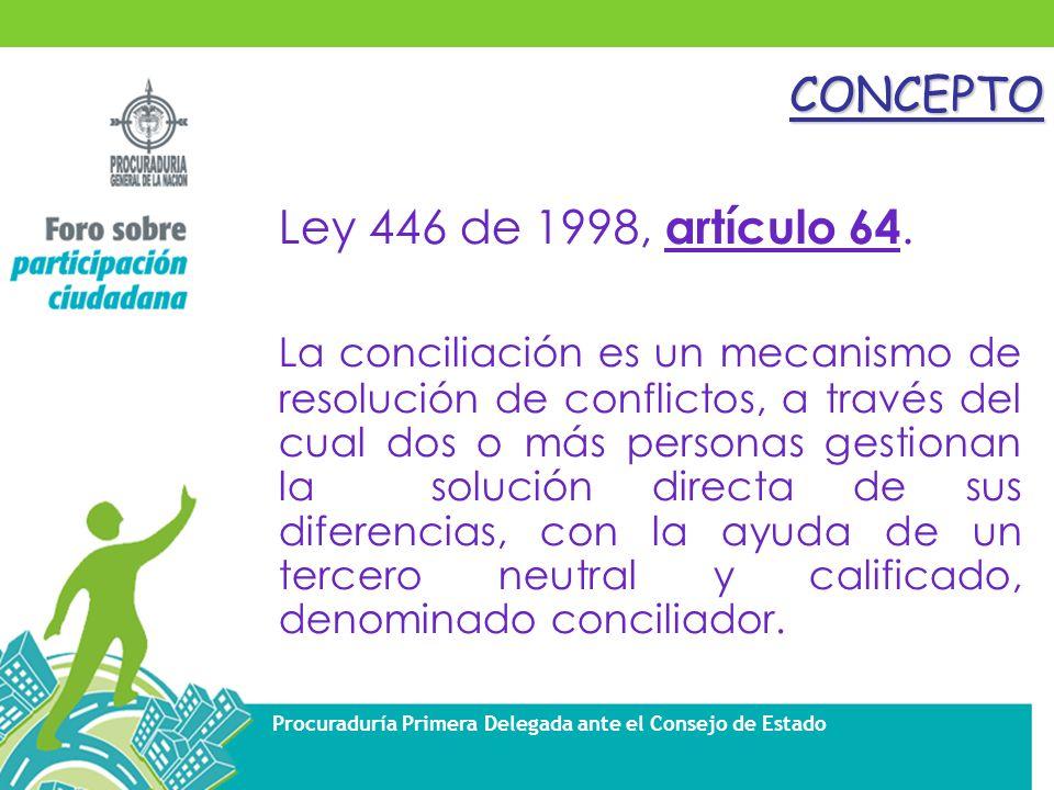 Procuraduría Primera Delegada ante el Consejo de EstadoCONCEPTO Ley 446 de 1998, artículo 64.