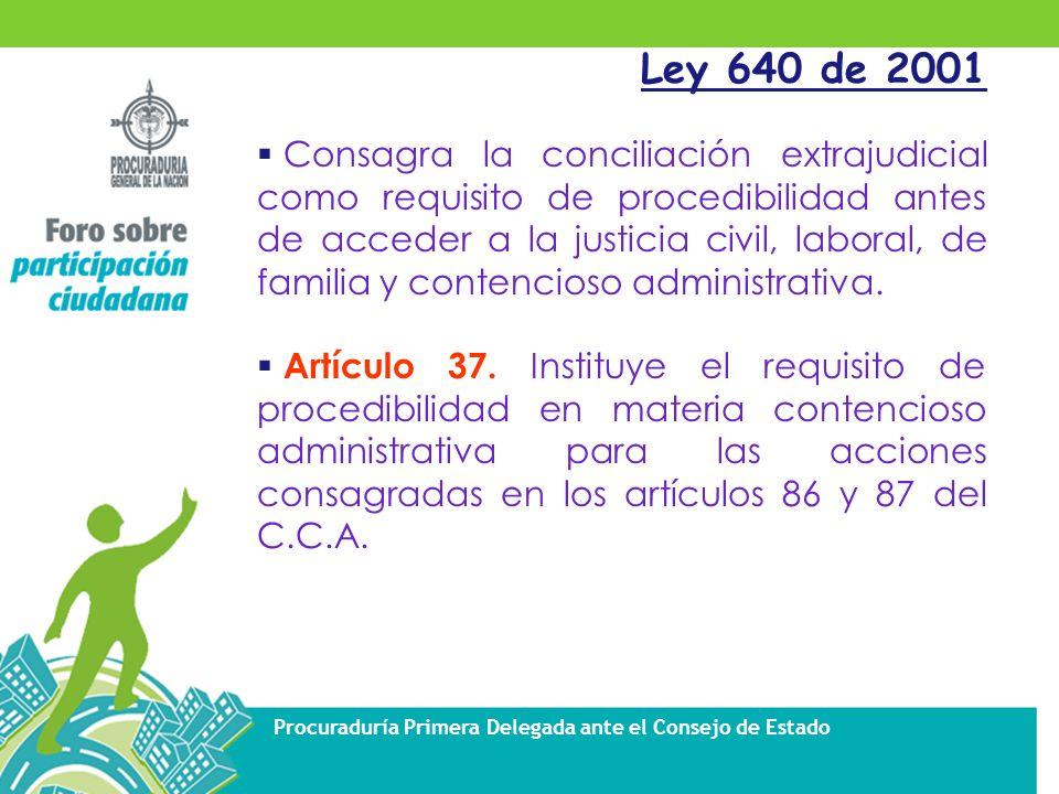 Procuraduría Primera Delegada ante el Consejo de Estado Ley 640 de 2001 Consagra la conciliación extrajudicial como requisito de procedibilidad antes de acceder a la justicia civil, laboral, de familia y contencioso administrativa.