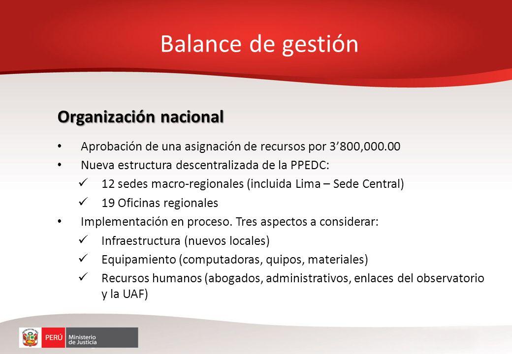 Organización nacional Aprobación de una asignación de recursos por 3800,000.00 Nueva estructura descentralizada de la PPEDC: 12 sedes macro-regionales