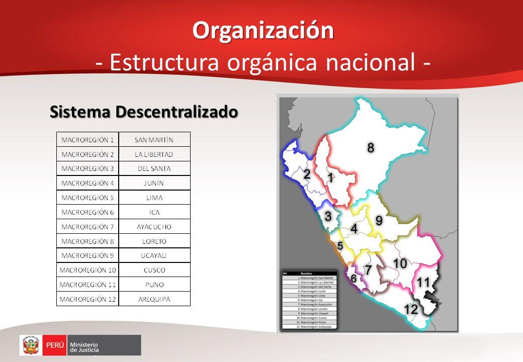 Organización Organización - Estructura orgánica nacional - Sistema Descentralizado