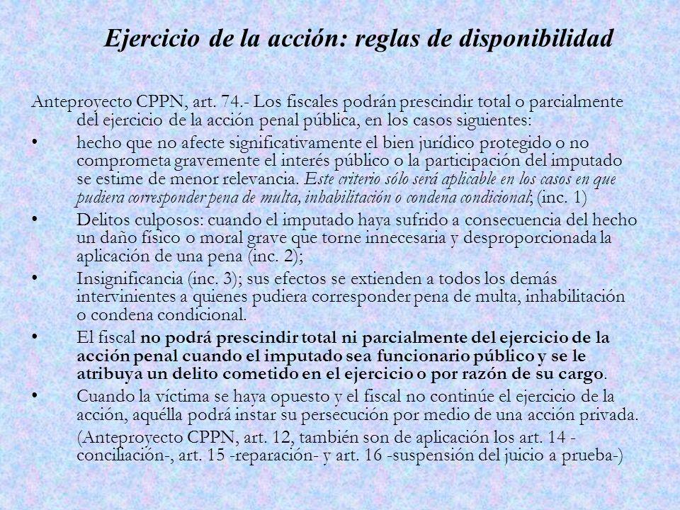 Ejercicio de la acción: reglas de disponibilidad Anteproyecto CPPN, art.