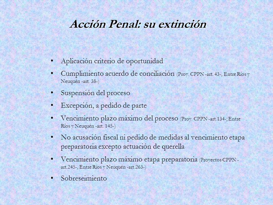 Acción Penal: su extinción Aplicación criterio de oportunidad Cumplimiento acuerdo de conciliación (Proy.