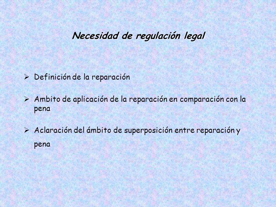 Necesidad de regulación legal Definición de la reparación Ambito de aplicación de la reparación en comparación con la pena Aclaración del ámbito de superposición entre reparación y pena