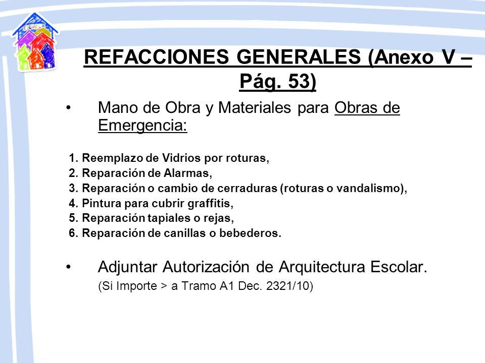 REFACCIONES GENERALES (Anexo V – Pág. 53) De carácter indispensable para el mantenimiento edilicio. Mano de Obra y Materiales para: 1. Reparación de f