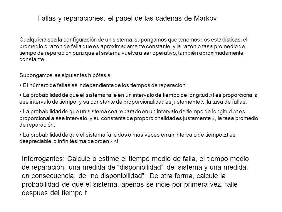 Fallas y reparaciones: el papel de las cadenas de Markov Cualquiera sea la configuración de un sistema, supongamos que tenemos dos estadísticas, el pr