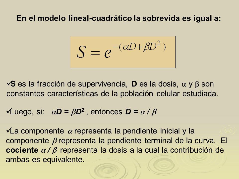 En el modelo lineal-cuadrático la sobrevida es igual a: Luego, si: D = D 2, entonces D = / La componente representa la pendiente inicial y la componen
