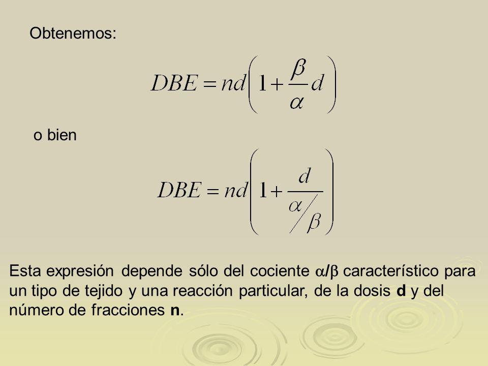 Obtenemos: o bien Esta expresión depende sólo del cociente / característico para un tipo de tejido y una reacción particular, de la dosis d y del núme