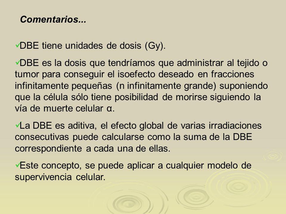 Comentarios... DBE tiene unidades de dosis (Gy). DBE es la dosis que tendríamos que administrar al tejido o tumor para conseguir el isoefecto deseado