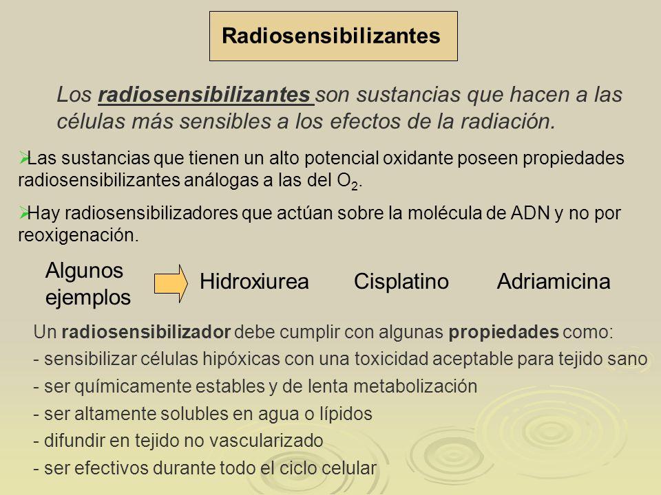 Radiosensibilizantes Las sustancias que tienen un alto potencial oxidante poseen propiedades radiosensibilizantes análogas a las del O 2. Los radiosen