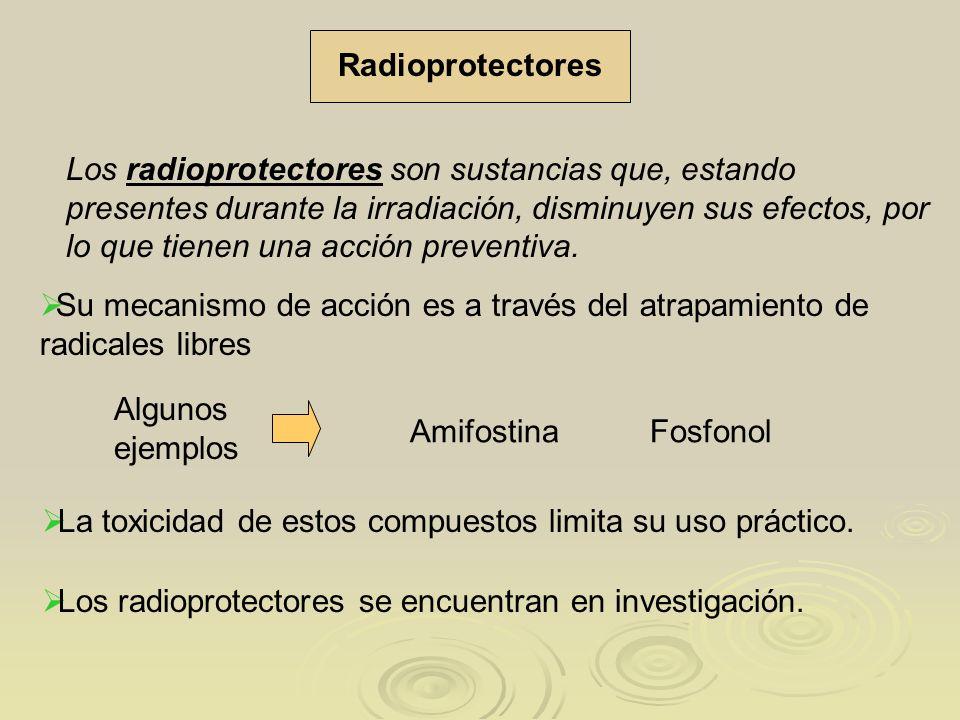Los radioprotectores son sustancias que, estando presentes durante la irradiación, disminuyen sus efectos, por lo que tienen una acción preventiva. La