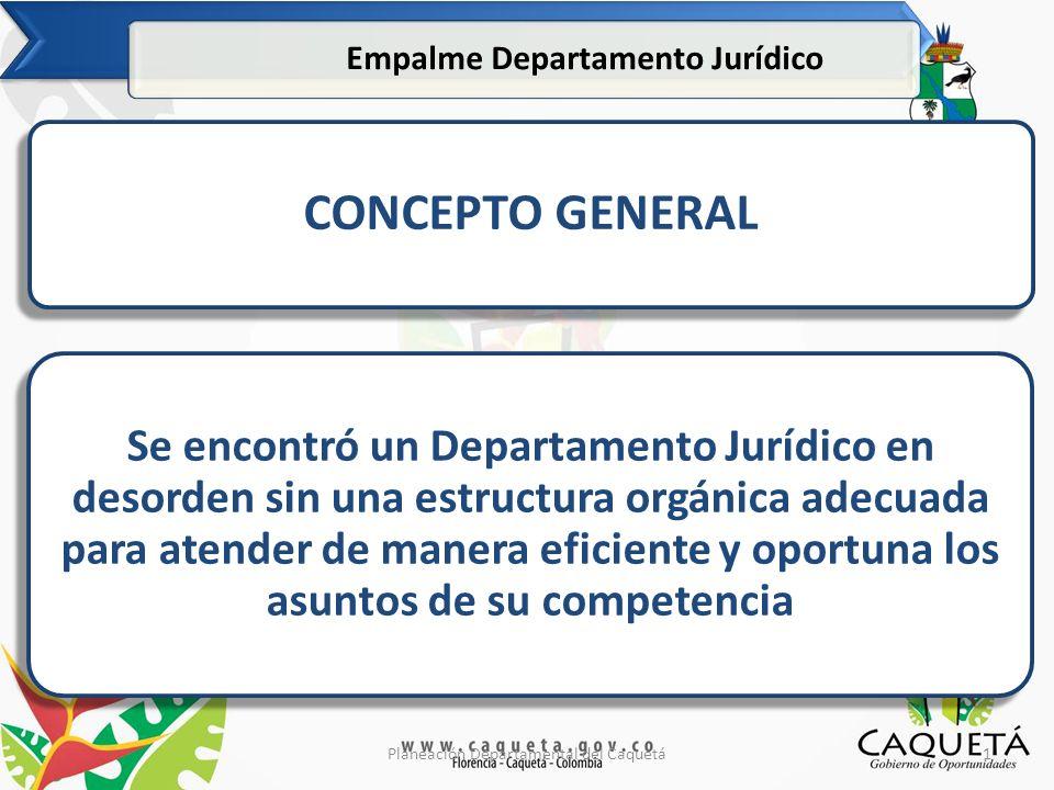 2Planeación Departamental del Caquetá Empalme Departamento Jurídico PROCESOS: En el proceso de empalme se referenció por la administración saliente 145 procesos en contra del departamento.