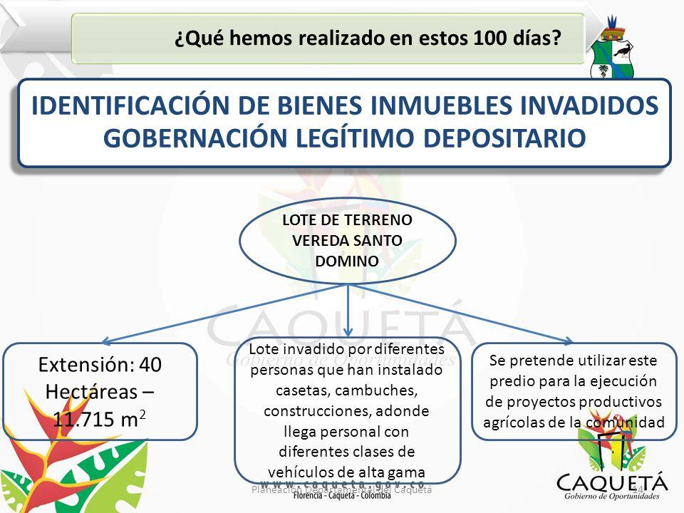 14Planeación Departamental del Caquetá ¿Qué hemos realizado en estos 100 días.