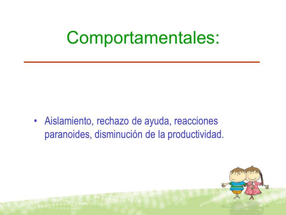 Comportamentales: Aislamiento, rechazo de ayuda, reacciones paranoides, disminución de la productividad.