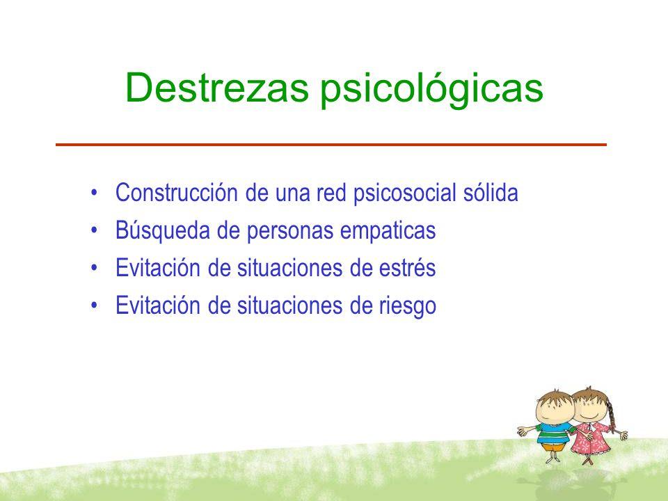 Destrezas psicológicas Construcción de una red psicosocial sólida Búsqueda de personas empaticas Evitación de situaciones de estrés Evitación de situa