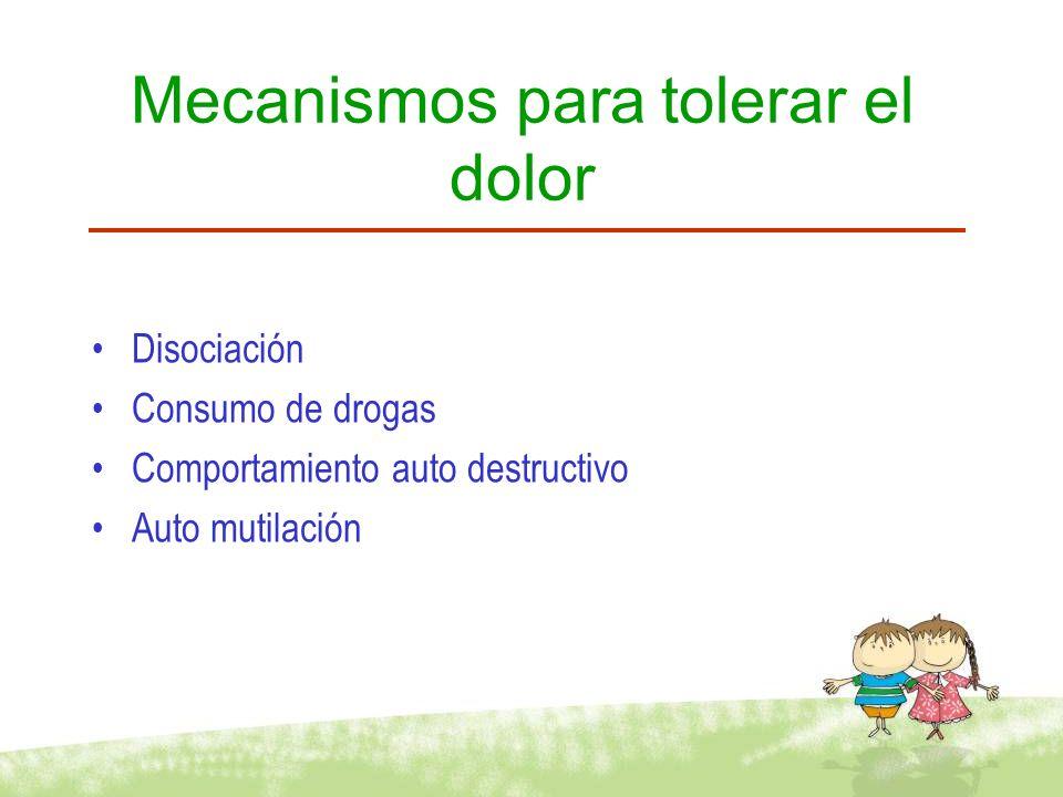 Mecanismos para tolerar el dolor Disociación Consumo de drogas Comportamiento auto destructivo Auto mutilación