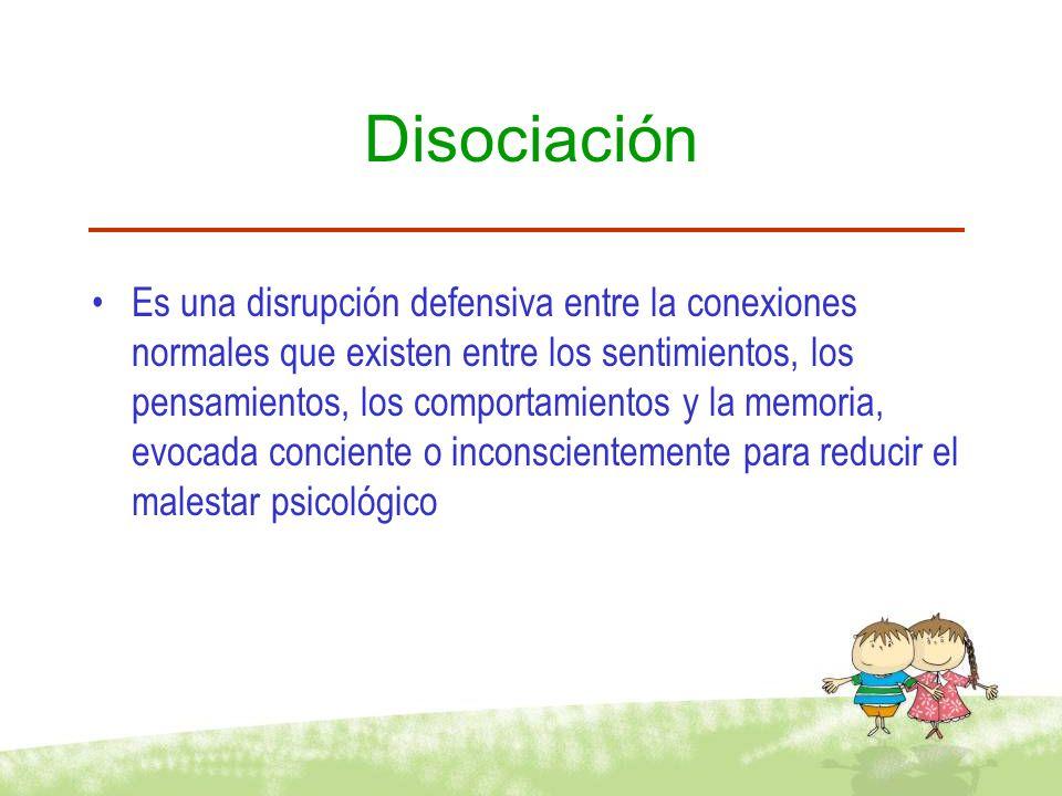 Disociación Es una disrupción defensiva entre la conexiones normales que existen entre los sentimientos, los pensamientos, los comportamientos y la me