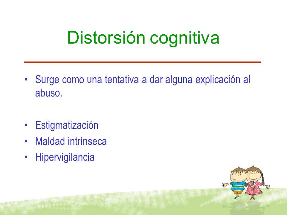Distorsión cognitiva Surge como una tentativa a dar alguna explicación al abuso. Estigmatización Maldad intrínseca Hipervigilancia
