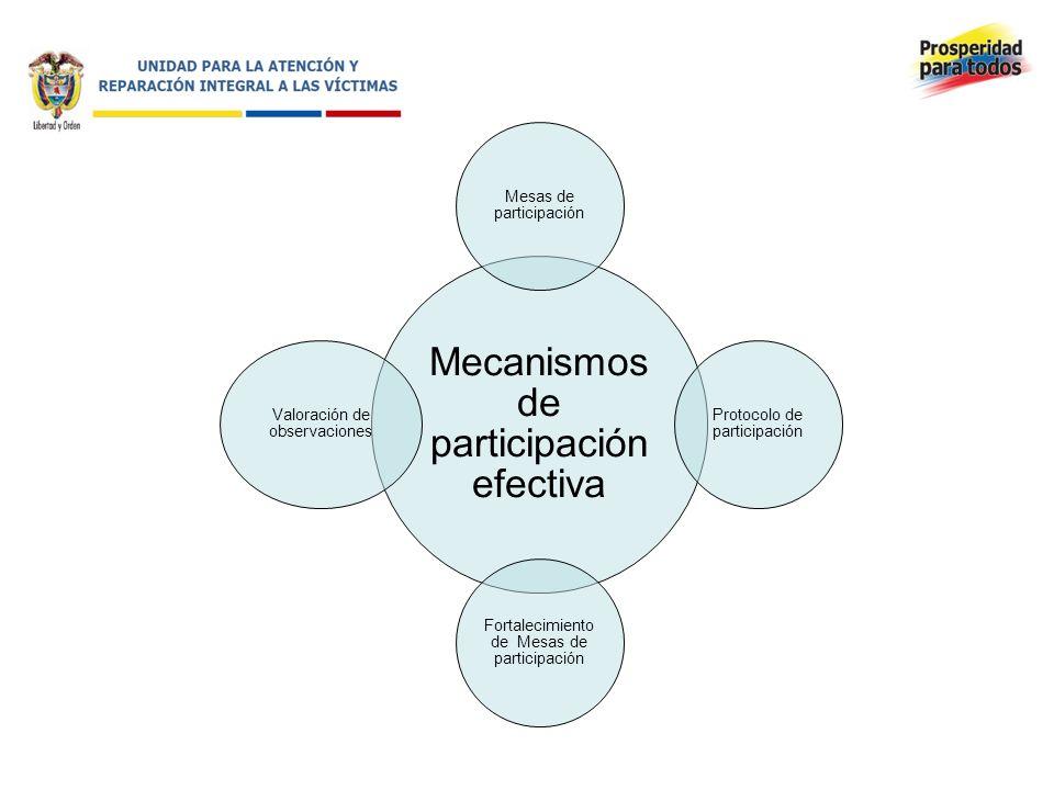 Mecanismos de participación efectiva Mesas de participación Protocolo de participación Fortalecimiento de Mesas de participación Valoración de observaciones