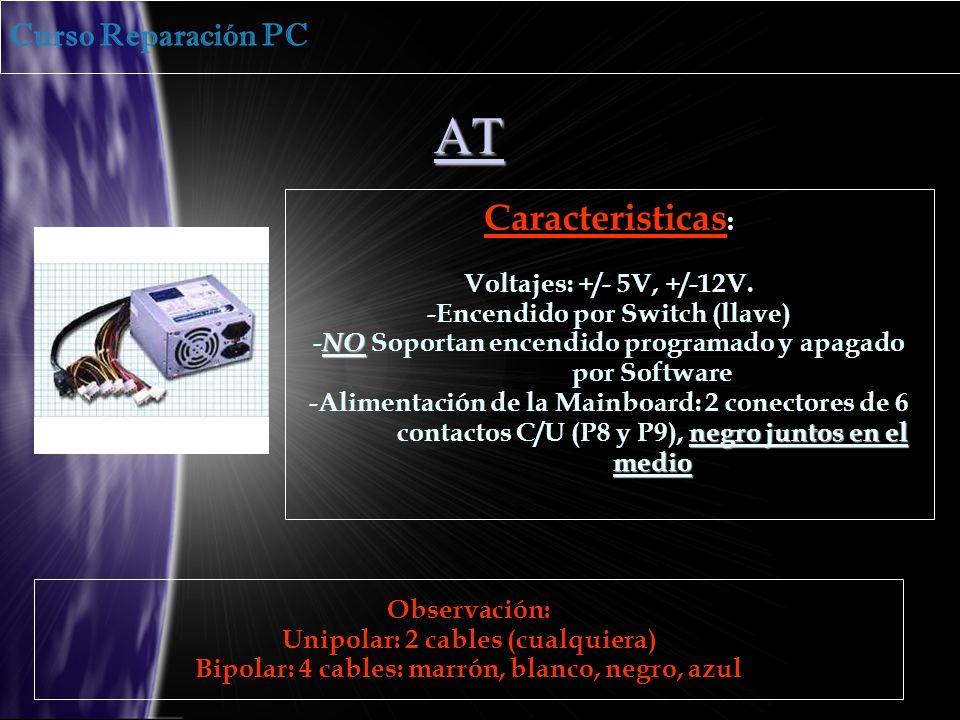 AT Caracteristicas : Voltajes: +/- 5V, +/-12V.