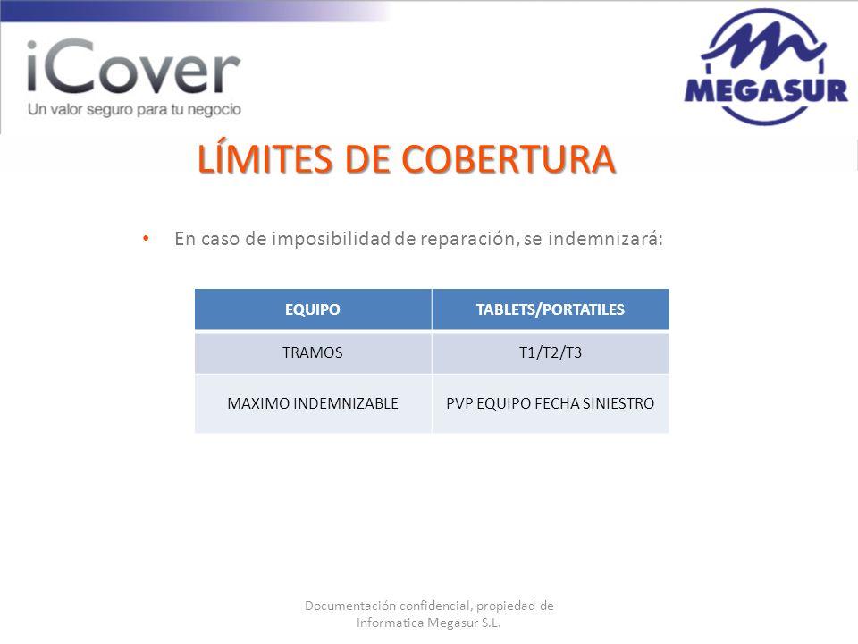 Documentación confidencial, propiedad de Informatica Megasur S.L. LÍMITES DE COBERTURA EQUIPOTABLETS/PORTATILES TRAMOST1/T2/T3 MAXIMO INDEMNIZABLEPVP