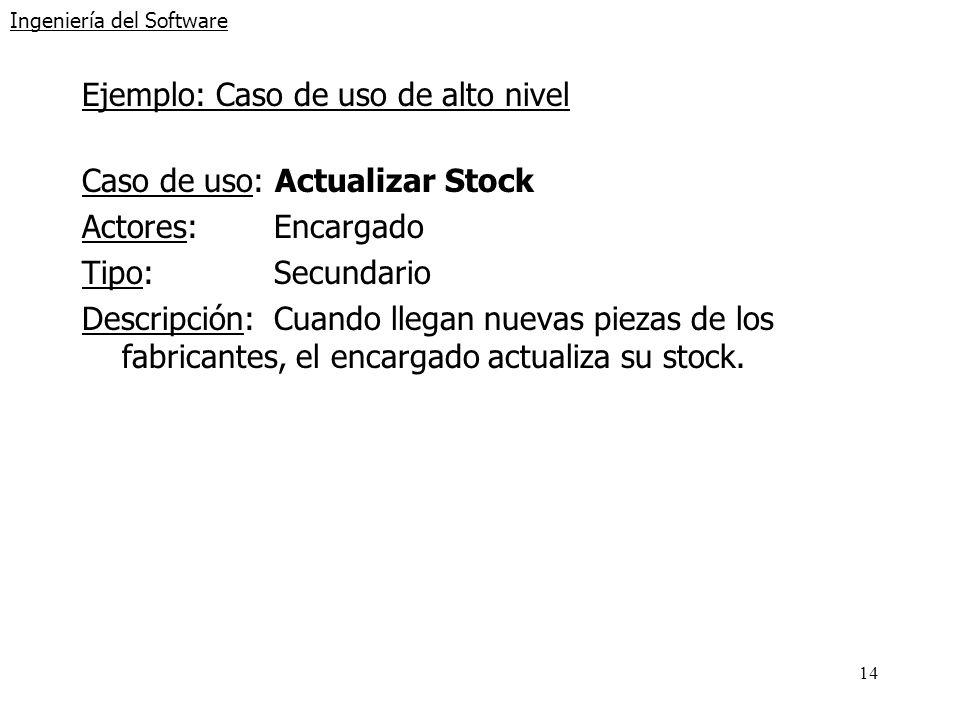 14 Ingeniería del Software Ejemplo: Caso de uso de alto nivel Caso de uso: Actualizar Stock Actores:Encargado Tipo:Secundario Descripción:Cuando llega