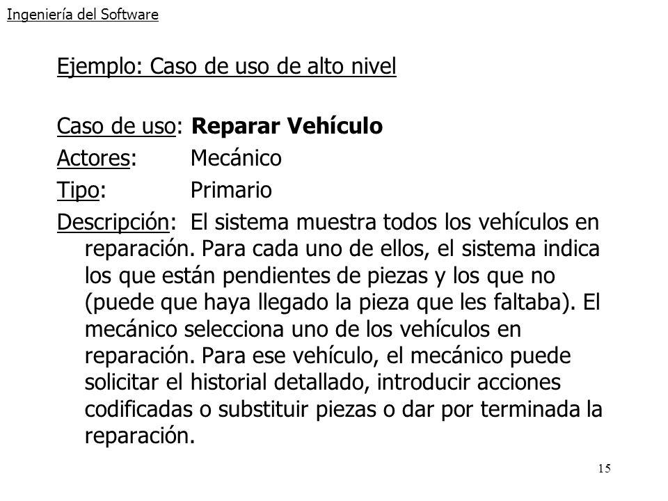 15 Ingeniería del Software Ejemplo: Caso de uso de alto nivel Caso de uso: Reparar Vehículo Actores:Mecánico Tipo:Primario Descripción:El sistema mues